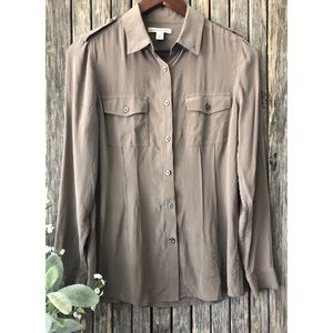 BANANA REPUBLIC 100% Silk Long Sleeve Camp Shirt